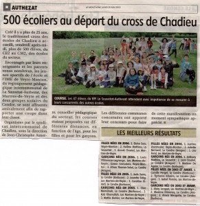 >>>Article journal La Montagne du 25 05 2015