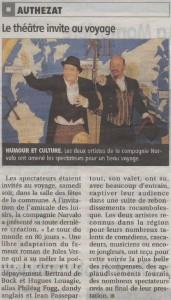 >>>Des éloges du journal La Montagne du 10 03 2015