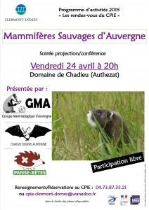 Affiche Mammifères sauvages d'Auvergne