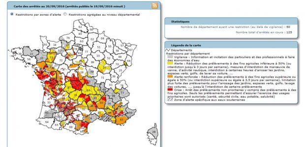 >>>Arrêté 15 09 2016 limitant les usages de l'eau >>>Suivi de la sécheresse 2016 depuis le portail de la Préfecture du Puy-de-Dôme Partagez