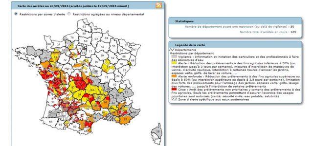 >>>Arrêté 15 09 2016 limitant les usages de l'eau >>>Suivi de la sécheresse 2016 depuis le portail de la Préfecture du Puy-de-Dôme