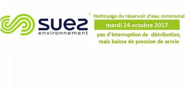 Dans le cadre de la politique de suivi de la qualité de l'eau mise en distribution, les services de Suez Environnement procéderont, au lavage du réservoir d'eau du Bourg d'Authezat qui alimente la commune : mardi 24 octobre 2017. Cette opération ne devrait pas occasionner d'interruption de la distribution de l'eau potable, par contre, elle génèrera une [...]
