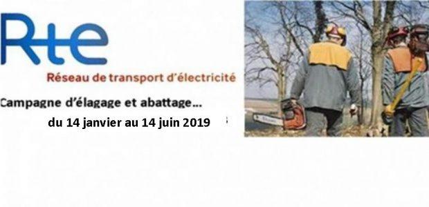 L'entreprise PORTAL SARL, pour le compte de Réseau de Transport d'Electricité RTE exécutera sur le territoire communal des travaux d'élagage et d'abattage nécessaires au bon fonctionnement des lignes électriques. >>>Lire l'affiche informative Partagez