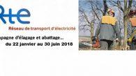 L'entreprise PORTAL SARL, pour le compte de Réseau de Transport d'Electricité RTE exécutera sur le territoire communal des travaux d'élagage et d'abattage nécessaires au bon fonctionnement des lignes électriques. >>>Lire l'affiche informative