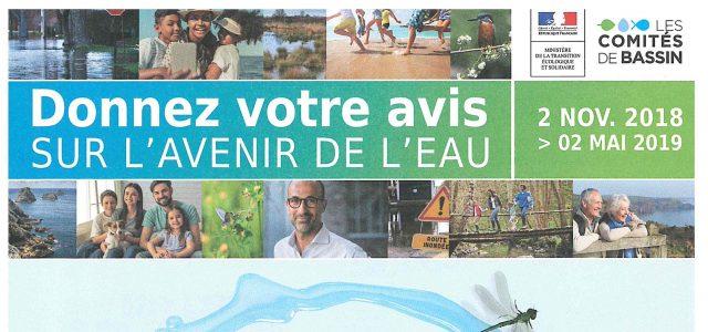 Votre avis sur l'eau >>>Consultez l'affiche  Du 2 novembre 2018 au 2 mai 2019, tous les habitants et organismes du bassin Loire-Bretagne sont invités à donner leur avis l'avenir de l'eau.  Une consultation sur les enjeux et les pistes d'action pour améliorer la qualité des eaux et prévenir les risques d'inondation.  L'avis du public est attendu sur les [...]