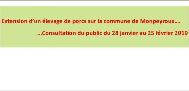 Un dossier de demande d'extension d'un élevage de porcs a été déposé en Préfecture, ce type de demande est rangé dans les installations classées soumises à enregistrement. En conséquence, cette demande est soumise à la procédure de consultation du public dont les modalités d'organisation sont fixées dans l'arrêté du 31 décembre 2018 >>>Arrêté préfectoral du 31 [...]