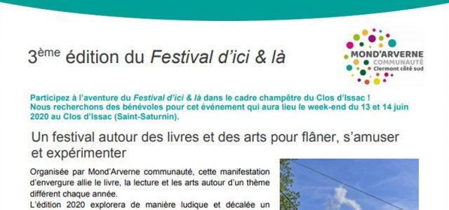 Mond'Arverne communauté => «Appel à bénévoles» => Festival d'Ici & Là 2020 Mond'Arverne communauté => Bouger, se divertir => culture => les rendez-vous en territoire