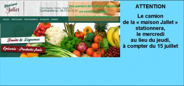 Des paniers de fruits et légumes sont proposés à la vente, cour de la mairie, de 16h à 18h, les mercredis (et non plus, les jeudis). La SARL Jallet, tiendra à disposition des paniers au tarif de 20 euros,privilégiant producteurs locaux en fonction de la saison. http://www.jallet-primeurengros.com/ Le panier de la semaine : commander au 04.73.88.66.82 >>>Clic [...]