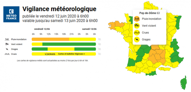 >>Message d'alerte de la Préfecture du Puy-de-Dôme : vigilance météorologique orages de niveau orange  Partagez