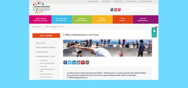 >>>courrier général CLAS 2020-2021 >>> 2020-2021-CLAS-fiche pré inscription >>>affiche clas En allant sur le portail de la communauté de communes, consultation des actions envers la jeunesse : https://www.mond-arverne.fr/vivre-et-grandir/pole-adolescents/