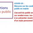 COVID-19 : Mesures sur les conditions d'accueil du public en mairie L'accueil du public se fait uniquement sur rendez-vous.  Les usagers sont invités à se présenter munis d'un masque et d'un stylo personnel (encre noire).  Merci de privilégier la prise de rendez-vous par mail à l'adresse: mairie-authezat@cegetel.net ou par téléphone au 04 7339 50 31 (l'obtention d'un interlocuteur [...]