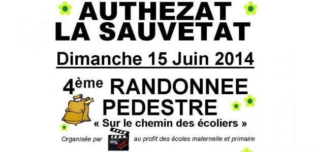 L'association Récré'Action organise sa 4ème randonnée pédestre SUR LE CHEMIN DES ECOLIERS, dimanche 15 juin. Les départs s'échelonneront de 8h30 à 15h, suivant le parcours retenu (4-7-14-22 ou 28 km) depuis l'école maternelle d'Authezat. >>>Voir l'affiche  >>>plus de renseignements à la page 17 du calendrier des randonnées pédestres Auvergne 2014 http://www.ufolep-auvergne.org/ http://www.ufolep63.org/    Partagez