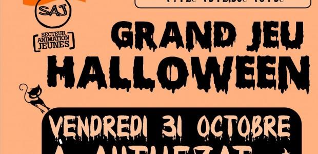 Le SAJ vous a concocté un grand jeu vendredi 31 octobre….. >>>consultez l'affiche Il reste encore quelques places pour la grande soirée Halloween du SAJ qui aura lieu à Authezat le vendredi 31 octobre de 20h à 23h30.  Un grand jeu d'enquête inédit au programme.  Inscrivez-vous vite!! + d'infos sur : www.sitesaj.ici.st  Partagez