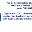 Suite au conseil communautaire du 02 Avril 2015, et face à des choix budgétaires importants, il a été décidé de ne pas reconduire le programme «Travaux d'Intérêt Collectif» pour l'été 2015. http://www.cc-gergovie-val-allier.fr/les-travaux-dinteret-collectif-tic