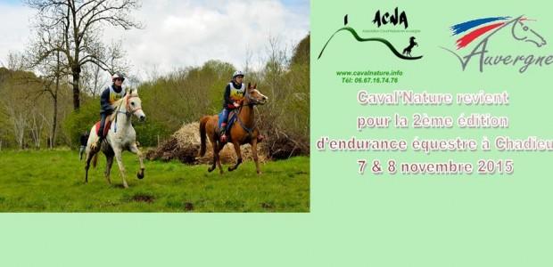 Chadieu à cheval  >>>Clic pour agrandir La 2ème endurance équestre, organisée par l'association Caval'Nature en Auvergne, aura lieu samedi 7 et dimanche 8 novembre, sur le site même de Chadieu sur la commune d'Authezat.(63). Cette discipline, placée sous l'égide de la F.F.E, reçoit l'aide matérielle de la commune d'Authezat (63), et du Syndicat Intercommunal, de la commune de [...]