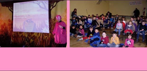 Vendredi 15 janvier 2016 , à la salle des fêtes d'Authezat, les 50 enfants de l' école maternelle ont assisté au spectacle«PINKY ET LES MASQUES DE LA SAVANE» , présenté par la compagnie LéZ'arts vivants . Ce spectacle musical, tout en couleurs allie images vidéos et personnages réels. C'est un spectacle interactif dans lequel les enfants [...]