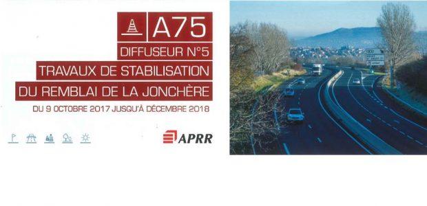 >>>Consultez la plaquette informative, relative aux travaux sur l'A75 programmés entre le 9 octobre 2017 et décembre 2018 et fermeture de la bretelle d'entrée du diffuseur n°5 en direction de Clermont du 09 octobre 2017 au 22 décembre 2017 Partagez
