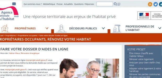 >>>Ouverture du service en ligne de l'Anah dans le Puy-de-Dôme==> voir le courrier informatif http://www.anah.fr/proprietaires/proprietaires-occupants/faire-votre-dossier-daides-en-ligne/ ==> faire son dossier d'aides https://monprojet.anah.gouv.fr/ ==> accès au service en ligne et constituer son dossier Partagez