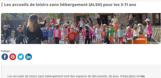 Destinés au 3-11 ans, les accueils de loisirs sans hébergement (ALSH) pour les jeunes du territoire de Mond'Arverne communauté fonctionne toute l'année (sauf pendant les vacances de fin d'année). Toutes les informations depuis le portail de Mond'Arverne Communauté https://www.mond-arverne.fr/vivre-et-grandir/centres-de-loisirs/ Les nouveaux tarifs applicables au 1er septembre 2021, pour toutes les prestations en matière d'ALSH >>>ALSH_Tarifs-Sept 2021  Partagez